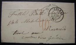 Colmar (Alsace) 1855 Lettre En Italien Pour Le Tirol Taxée En Rouge à 40, Plusieurs Cachets à L'arrière Dont Ambulant - Storia Postale