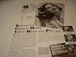 ANCIENNE PUBLICITE CHEVEUX MISE EN PLIS  ROJA  1940 - Parfums & Beauté