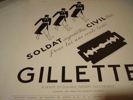 ANCIENNE PUBLICITE CIVIL OU SOLDAT LAME  GILLETTE  1940 - Perfume & Beauty