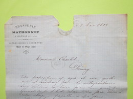 Facture Document - Brasserie MATHONNET A.GIRAULT à Gannat (Allier) Bières Malt & Orges Crues 8/03/1882>> - 1800 – 1899
