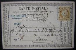 1875 Lille Carte Précurseur De Fred Christy Pour Paris Avec N°55 - Marcophilie (Lettres)