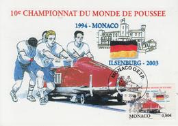 Carte Maximum  1er  Jour   MONACO   BOBSLEIGH   Championnat  Du  Monde  De  Poussée  2003 - Hiver