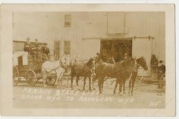Real Photo Rankin Stage Line Bragg Wyo. To Rawling Wyo.  Horse Cart 6 Horses Diligence 6 Chevaux - Etats-Unis