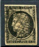 8583  FRANCE  N°3 ° 20c. Noir S. Jaune  Cérés Oblitération Grille   1849  TB - 1849-1850 Cérès