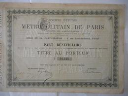 Ste D'ETUDES Du METROPOLITAIN De PARIS    Rue Louis Le Grand Paris - Actions & Titres