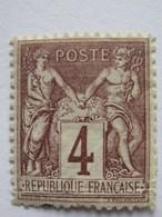 YT 88 (*) 1877-80 Type Sage (II Inv Sous U) 4c Lilas-brun (côte 14 Euros) – 76 - 1876-1898 Sage (Type II)