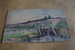 Superbe Ancienne Aquarelle Du 19 Iem.signé Rolin ,Vue De Genk,32 Cm. Sur 19,5 Cm. - Watercolours
