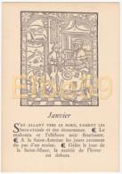 Gravure (reproduction), Le Mois De L'année, Janvier, De Nicolas Le Rouge, Troyes, 1496, Neuve - Fiabe, Racconti Popolari & Leggende