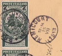 Carte Postale Brescia Italia 1913 Remicourt Belgique Verona Anniversario Dell'Unità D'Italia - Italië