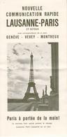 LAUSANNE - PARIS  Et Retour  Genéve - Vevey - Montreux  Avec HORAIRE  En 1952  Et Prix Du Billets - Treni
