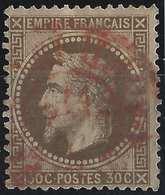 Napoléon III 1865 N°30b 30c Brun Clair Obl Rouge Ondulé Des Imprimés TB - 1863-1870 Napoléon III Lauré