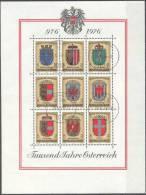 1976 1000 Jahre Österreich ANK Bl 6 / Mi Bl 4 / Sc S/S 1042 / Y&T BF 9 Gestempelt / Oblitéré / Used - 1971-80 Usados