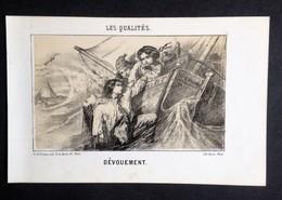 Les Qualités, DÉVOUEMENT Sauvetage Noyade, Litho Ancienne Paris Roche, Image Pour  Enfants - Lithographies