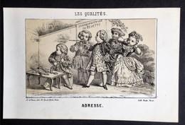 Les Qualités, ADRESSE, Tir Fusil, Litho Ancienne Paris Roche, Image Pour Enfants - Lithographies