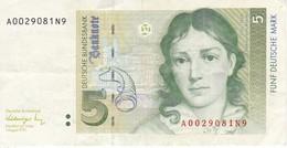 BILLETE DE ALEMANIA DE 5 MARK DEL AÑO 1991   (BANKNOTE) - [ 7] 1949-… : RFA - Rep. Fed. De Alemania