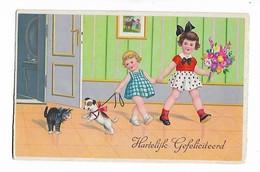 """"""" Hartelijk  Gefeliciteerd    """"       2  Petites  Filles  , Chat  Et  Chien - Children's Drawings"""