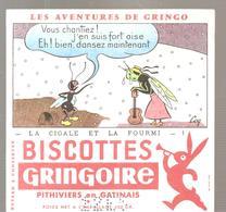 Buvard GRINGOIRE Biscottes  Les Aventures De Gringo N°1 La Cigale Et La Fourmi Illustré Par COQ - Zwieback