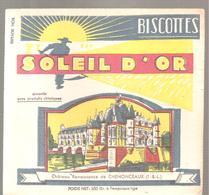 Buvard Biscottes Soleil D'Or Château Renaissance De CHENONCEAUX - Zwieback