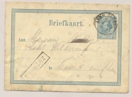 Nederland - 1873 - Halte ZUTPHEN En KR Treinstempel ARNH.OLDENZ. Op 5 Cent Briefkaart Naar Deutschland - Poststempel