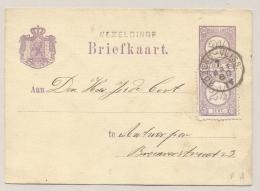 Nederland - 1880 - Halte WEMELDINGE En KR Treinstempel ROZEND:-VLISS: Op Briefkaart Naar Antwerpen / België - Poststempels/ Marcofilie