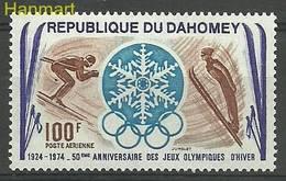 Dahomey 1974 Mi 553 MNH ( ZS5 DHY553 ) - Skiing