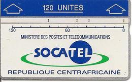 CARTE-HOLOGRAPHIQUE-CENTRE AFRIQUE-120U-SOCATEL-BLEU-N°Envers 207A48328-TBE - Central African Republic