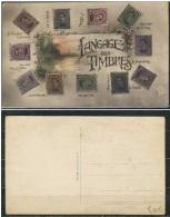 D- [DEL-241-1] Carte/card-CPA Langage Des Timbres - 1915-1920 Albert I