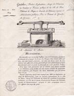 Très Rare Document De 1819 Courrier Aux Maires Pour Les Pompes à Incendie Gaudeler  Gravure - Publicités