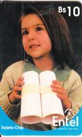 BOLIVIA(chip) - Young Girl(reverse 1), Chip GEM3.3, 08/01, Used - Bolivia