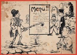 En L' Etat Rare MENU 21 DIJON 1908 (Association Des Etudiants) * Humour Potache - Menu