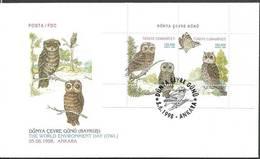 Turkey 1998 Mi Bl35 FDC ( FDC ZE2 TRKbl35 ) - Owls