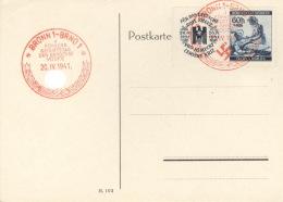 Böhmen Und Mähren 62Zf Auf Ungelaufener Ersttagskarte Sonderstempel Brünn - Boemia E Moravia