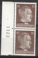 Ukraine 2x19 Seitenrand Mit Bogennummer ** Postfrisch - Besetzungen 1938-45