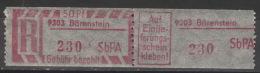 DDR SbPÄ-Einschreibemarkenpaar 9303 Bärenstein ** Postfrisch - Ungebraucht