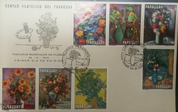 L) 1970 PARAGUAY, WORLD FLOWER PAINTINGS, MULTIPLE STAMPS, NATURE, FLOWERS, FDC - Paraguay