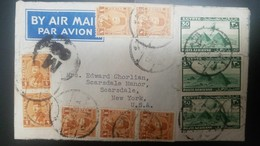 L) 1944 EGYPT, KING FAROUK, 1MILL, ORANGE, PYRAMIDS, GREEN, AIRPLANE, AIRMAIL, CIRCULATED COVER FROM EGYPT TO USA - Airmail
