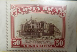 L) 1997 COSTA RICA, ARCHITECTURE, NATIONAL THEATER, 50C, RED, 65 COLONES, GREEN, PEOPLE, POSTCARD - Costa Rica