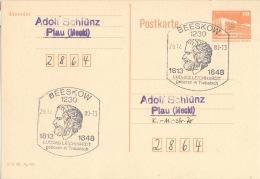 DDR Ganzsache Mit Sonderstempel Beeskow Ludwig Leichhardt 1988 - DDR