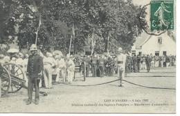 DPT 49 Le Lion D'ANGERS 6 Juin 1909 Réunion Cantonale Des Sapeurs Pompiers Manoeuvres D'Ensemble CPA TBE Rare - France