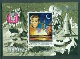 Yemen Kingdom 1969 Conquest Of The Moon, Kennedy, Space MS CTO - Yemen
