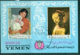 Yemen Kingdom 1969 Mother's Day Paintings IMPERF MS CTO - Yemen
