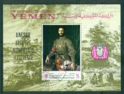 Yemen Kingdom 1969 UNESCO Save The Monuments Florence IMPERF MS CTO - Yemen