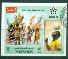 Yemen Kingdom 1970 Mexico World Cup Soccer IMPERF MS CTO - Yemen