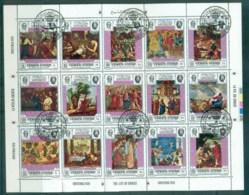 Yemen Kingdom 1970 Xmas Opt On Paintings Sheetlet, (folded) CTO - Yemen