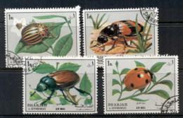 Sharjah 1972 Mi#1300-1303 Insects, Bugs & Beetles CTO - Sharjah