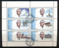 Sharjah 1972 Mi#875-880 Charles De Gaulle & Sights Of Paris Sheetlet CTO - Sharjah
