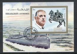 Sharjah 1972 Mi#MS95 Charles De Gaulle & Sights Of Paris MS CTO - Sharjah