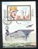 Sharjah 1972 Mi#MS96 Charles De Gaulle & Aircraft MS CTO - Sharjah