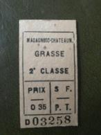 MAGAGNOSC CHATEAUNEUF GRASSE Ticket De Train 2° Classe Aller Chemins De Fer De Provence - Chemins De Fer