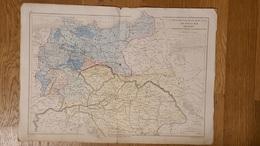 CARTE PHYSIQUE ET POLITIQUE EUROPE CENTRALE PRUSSE AUTRICHE ET ALLEMAGNE PAR DRIOUX ET LEROY 47 X 33 CM - Geographical Maps
